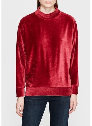 Mavi Kadife Sweatshirt Kırmızı